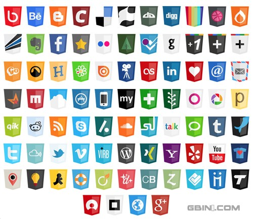 36 Free Modern Web Social Icons based on HTML5 Logo Design