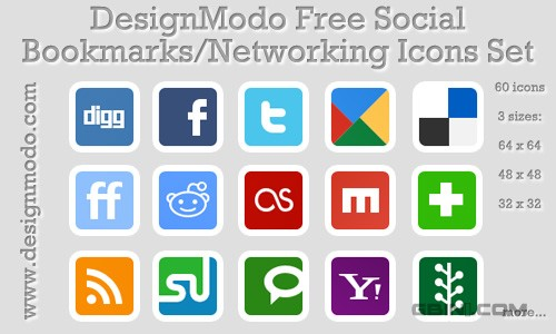 DesignModo Free Social Bookmarks/Networking Icons Set