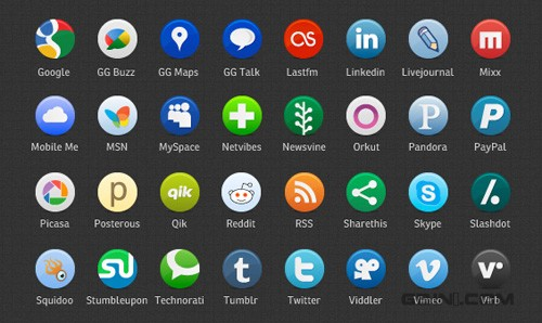 Buddycons: 126 Free Vector-Based Social Media Icons